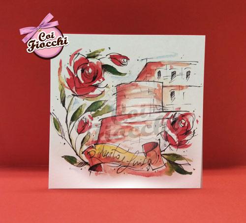 partecipazione-con disegno ad-acqurello che raffigura rose rosse e un castello
