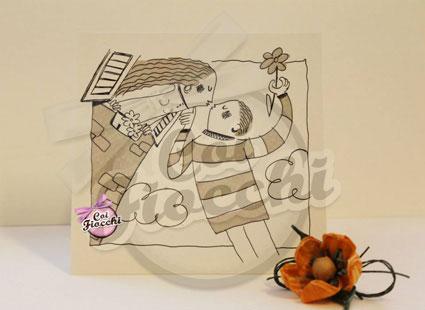 alternative tag_partecipazione di nozze illustrata a fumetti_design by simona ercole