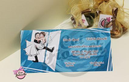 alternative tag_partecipazione di nozze illustrata a fumetti gli sposi varcano la soglia di casa_design by Marisa Minervini