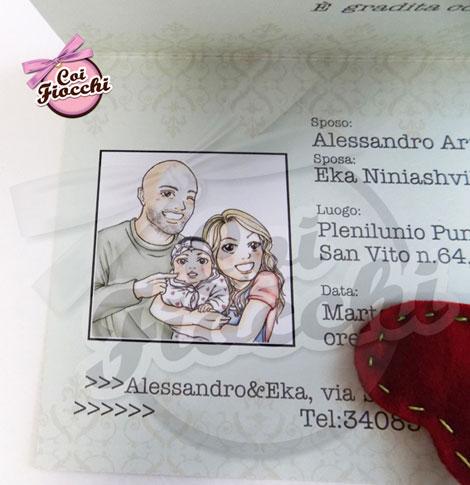 particolare della caricatura manga formato fototessera