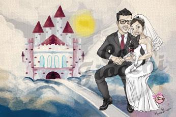 scenario per servizio fotografico del matrimonio con caricatura manga degli sposi e sullo sfondo un castello da fiaba