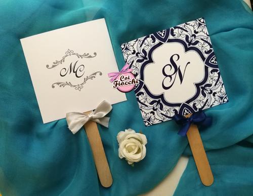 ventagli matrimonio ospiti in cartoncino eleganti tema maiolica
