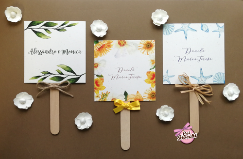 ventagli matrimonio ospiti in cartoncino a tema assortito