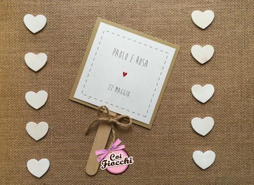 ventaglio matrimonio ospiti in cartoncino fatto a mano stile rustico