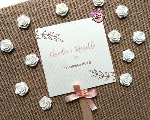 ventaglio matrimonio ospiti in cartoncino fatto a mano stile shabby