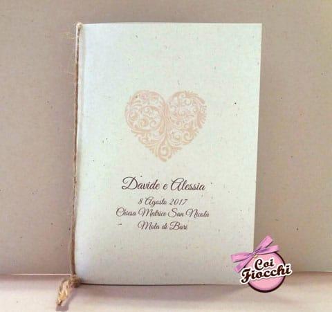 libretto-messa rustico in carta naturale e juta con cuore