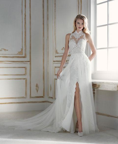 errico-maria-abito-sposa-con-spacco modello Palma