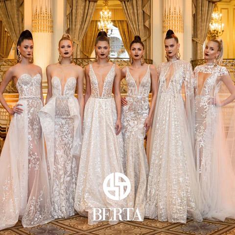 abiti da sposa nude look con scollatura profonda tratti dalla collezione 2018 di Berta