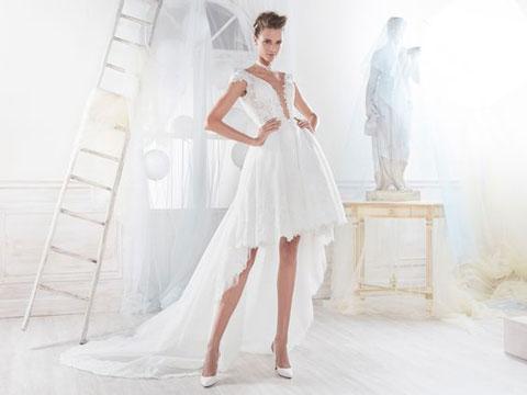abito-asimmetrico-corto- con strascico lungo di nicole-spose 2018