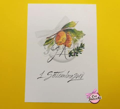 partecipazione-nozze con limoni disegnati e colorati con gli acquerelli