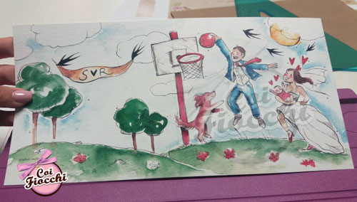 partecipazione-illustrata-ad-acquerello-sposi che giocano a basket con il bimbo e il cane