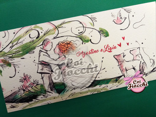 partecipazione di matrimonio romantica illustrata ad acquerello con sposi stilizzati con i capelli al vento e i loro cani
