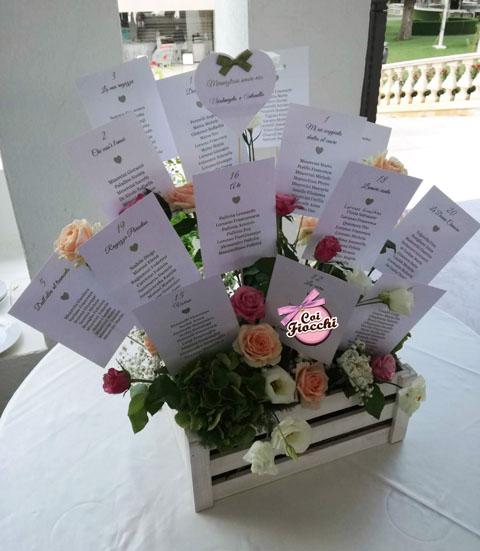 Tableau mariage con i cartoncini dei tavoli piantati insieme ai fiori freschi in una cassetta di legno shabby chic