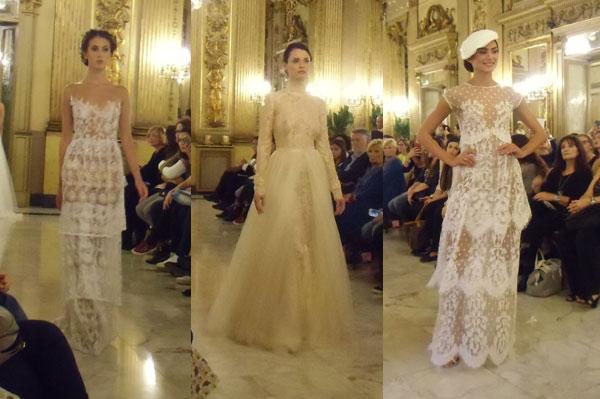 abiti-sposa stile nude look durante la sfilata di errico-maria-2018 a Bari