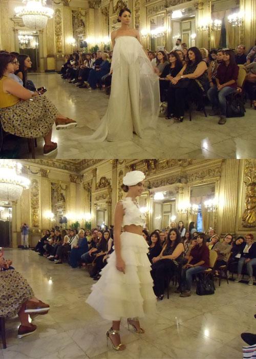 Sopra: abito da sposa a pantaloni; sotto: Abito da sposa crop top - Collezione Errico Maria 2018