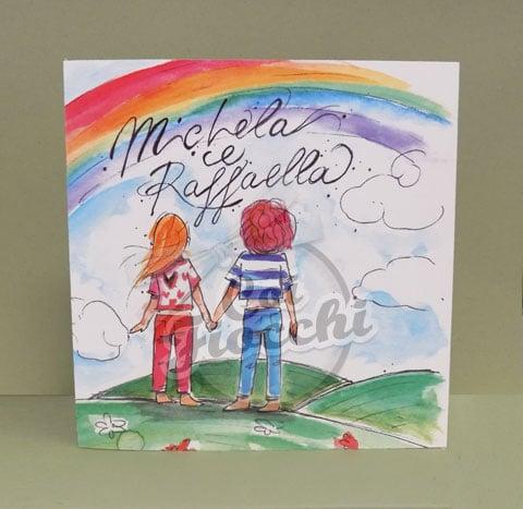 invito unione civile con disegno ad acquerello che ritrae due ragazze di spalle mentre guardano insieme l'arcobaleno