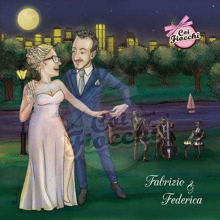 partecipazione nozze-con-caricatura manga degli sposi che ballano la salsa nel central park i musicisti sono alle loro spalle e tutto si svolge di sera illuminato dalle luci della città di New York