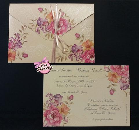 partecipazione-matrimonio-boho-chic con fiori dipinti effetto vintage