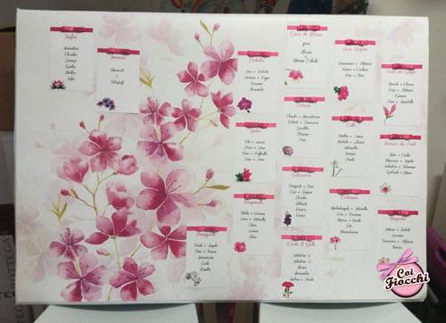 tableau-mariage con fiori di ciliegio illustrati e tag con fiocchi di raso fucsia