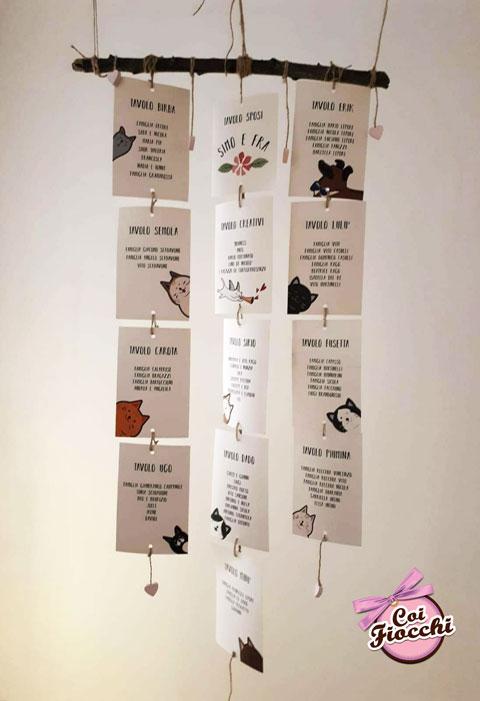 tableau-mariage shabby con tag appesi decorati con gattini stilizizzati