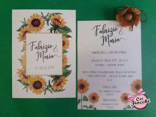 partecipazioni-di-matrimonio-ecologiche-in-carta-riciclata con girasoli