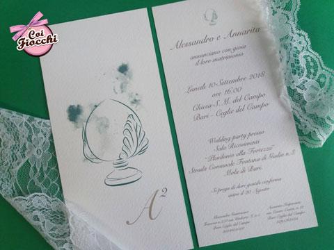 Partecipazione nozze shabby elegante con pumo pugliese