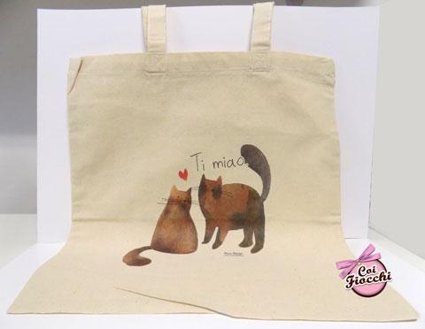 borsa shopper in cotone biologico con gatti innamorati