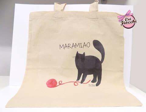 borsa-shopper- in cotone biologico con gatto-nero e gomitolo
