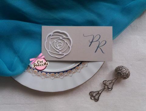 segnaposto nozze con fiore fustellato