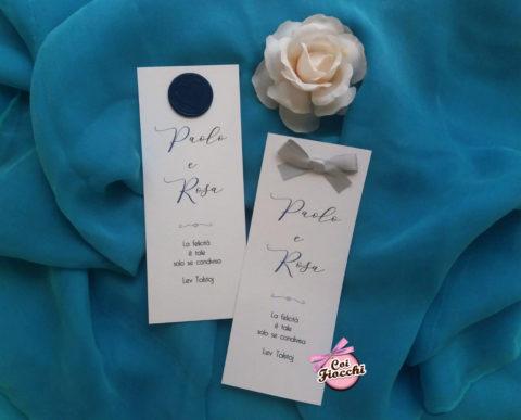 segnaposti matrimonio semplici ed eleganti con fiocco o ceralacca