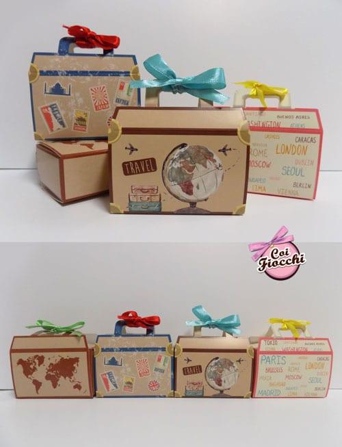scatoline segnaposto a forma di valigetta vintage con fiocchetto di raso colorato