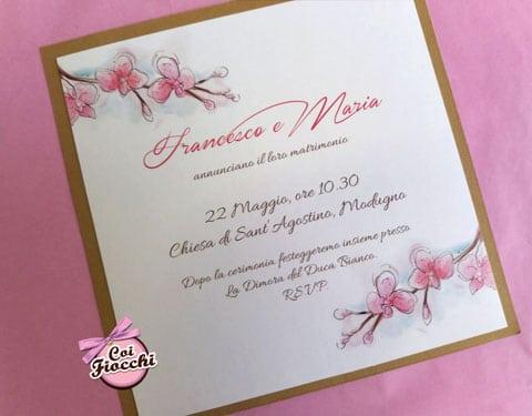 partecipazione-nozze-boho-chic con base kraft e orchidee rosa dipinte a mano ad acquerello