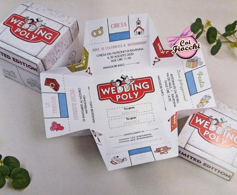 partecipazione nozze a forma di scatola del monopoli