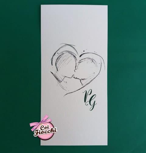 invito-matrimonio-gay personalizzato con-bacio-illustrato con inchiostro