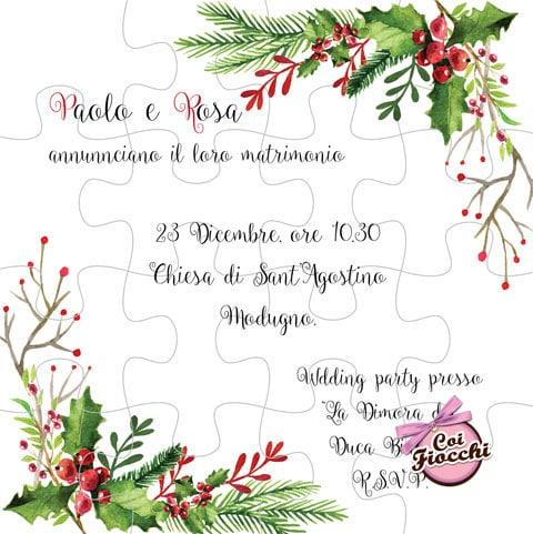 partecipazione nozze puzzle natalizia con agrifoglio