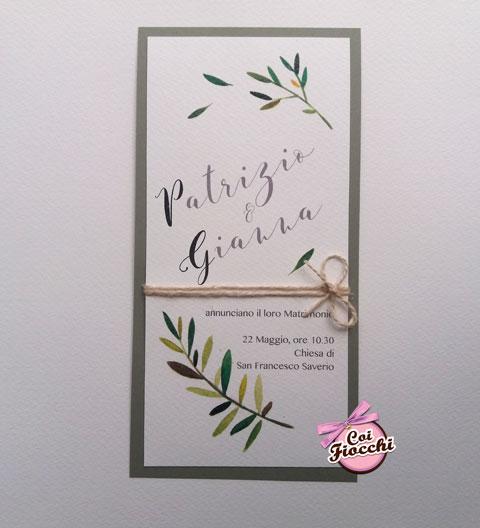 partecipazione-nozze-rustica con rametti di ulivo illustrati