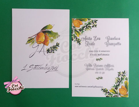 partecipazione-nozze-rustica ispirata alla sicilia con limoni e rametti di ulivo