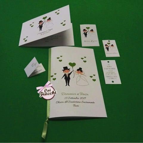 coordinato nozze mamma e papà si sposano con sposini stilizzati e cuori verdi