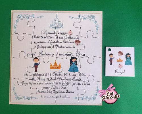 partecipazione-nozze-mamma e papà si sposano ispirata alle fiabe con principe e principessa stilizzati