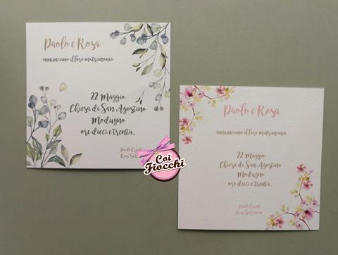 partecipazioni matrimonio economiche in stile boho chic con fiori