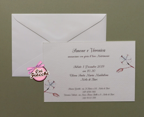 partecipazione matrimonio economica con fiori di cotone