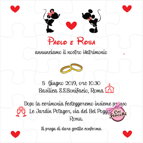 partecipazione di nozze formato puzzle con minnie e topolino