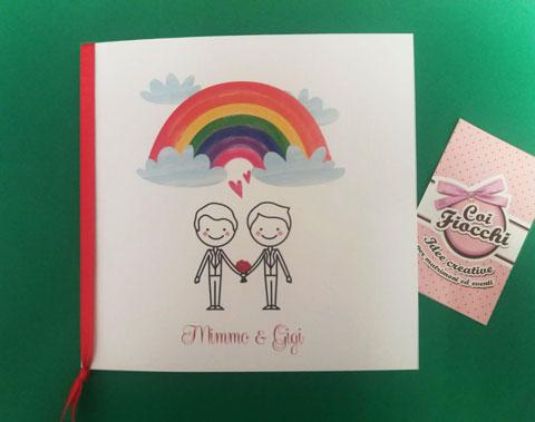 invito unione civile coppia gay stilizzata e arcobaleno