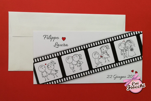 partecipazione nozze economica a tema cinema con pellicola e disegni