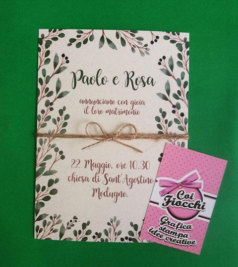 partecipazione matrimonio carta riciclata con motivi vegetali