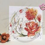 partecipazione di nozze con rose illustrate ad acquerello