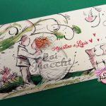 partecipazione nozze con illustrazione ad acqurello degli sposi con il cane - disegno di simona ercole