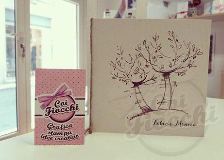 partecipazione nozze ispirate alle quattro stagioni - autunno con albero di olive disegnato