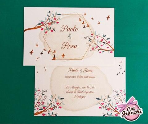 partecipazione-nozze-boho- chic romantica con rami con cuori al posto dei fiori e uccelli migratori.