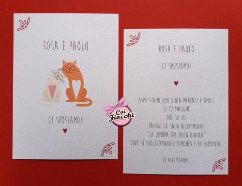 partecipazione-nozze a tema gatti con mici innamorati